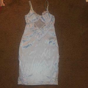 Fashion Nova Lace Light Blue Bodycon Dress